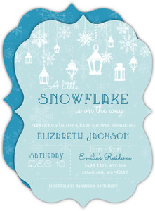 Blue Baby Snowflake Baby Shower Invitation