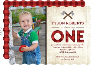 Rustic Red Flannel Photo Birthday Invitation