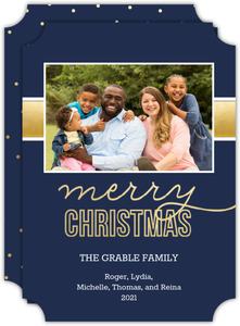 Simple Navy Blue and Faux Gold Photo Christmas Card
