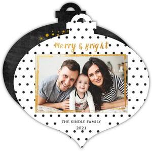 Polka Dot Black, White and Gold Photo Ornament Christmas Card