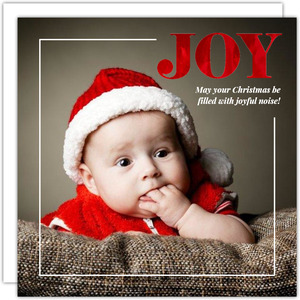 Simple Bordered Red Foil Joy Christmas Photo Card