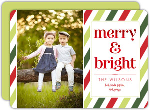 Classic Holiday Stripes Red Foil Merry and Bright Card