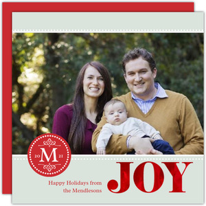 Monogram Red Foil Joy Photo Christmas Card