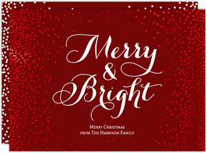 Red Foil Beautiful Confetti Framed Typographic Christmas Card