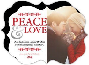 Red Stitched Stars Foil Peace and Love Photo Christmas Card