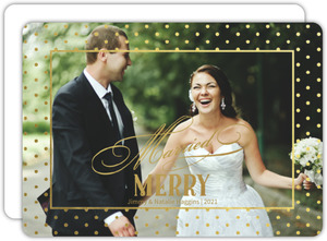 Dotted Gold Foil Married and Merry Christmas Photo Card
