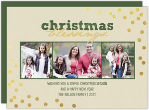 Gold Confetti Christmas Blessings Photo Christmas Card