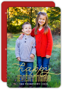 Modern Typography Gold Foil Happy Everything Holiday Photo Card