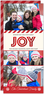 Joy Red Foil Family Photo Collage Christmas Card