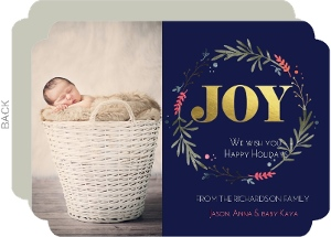 Elegant Holiday Wreath Gold Foil Joy Photo Christmas Card