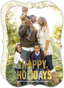 Classic Neutral Gold Foil Happy Holiday Christmas Photo Card