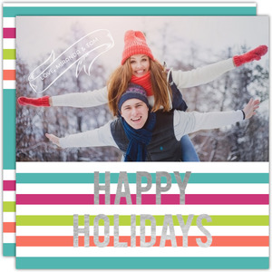 Bright Colorful Stripes Silver Foil Happy Holidays Photo Card