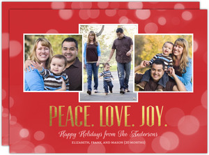 Festive Sparkle Gold Foil Peace Love Joy Christmas Photo Card