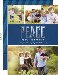 Navy Blue with Silver Foil Peace Christmas Photo Card