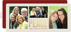 Red and Tan Gold Foil Peace Photo Christmas Card