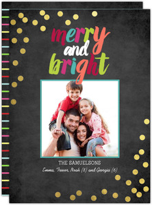 Bright and Colorful Gold Foil Merry and Bright Photo Christmas Card