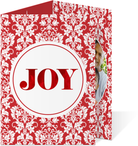 Elegant Floral Damask Red Foil Joy Christmas Trifold