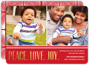 Elegant Gold Foil Peace Love Joy Photo Holiday Card