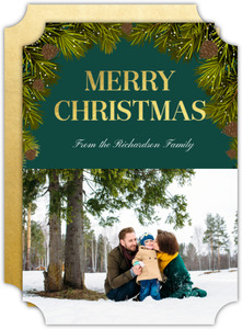 Pine Tree Gold Foil Holiday Photo Card