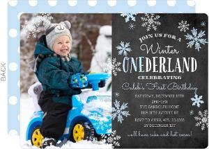 Blue Winter Onederland First Birthday Party Invitation