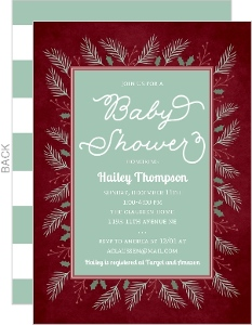 Winter Foliage Frame Baby Shower Invitation