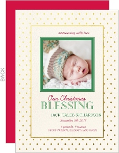 Gold Foil Frame Christmas Blessing Birth Announcement