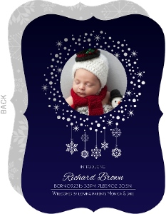 Silver Foil Snow Flurry Birth Announcement