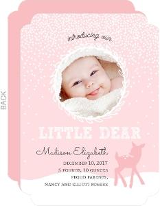 Pink Baby Deer Winter Birth Announcement
