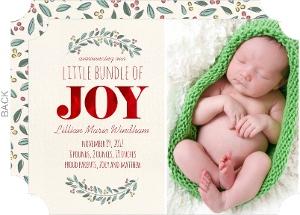 Bundle of Joy Red Foil Photo Birth Announcement