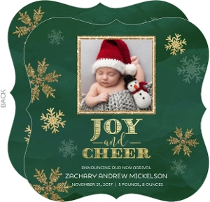 Green and Gold Cheer Photo Birth Announcement