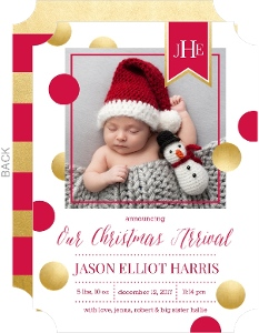 Christmas Arrival Monogram Banner Birth Announcement