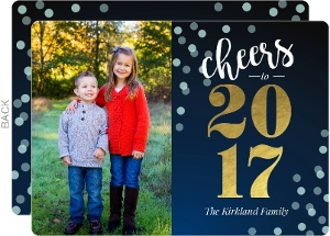Blue Confetti And Gold Foil New Year Photo Card