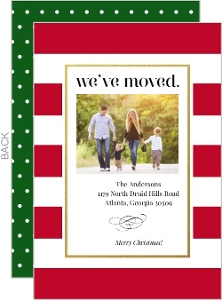 Holiday Stripes and Dots Moving Announcement