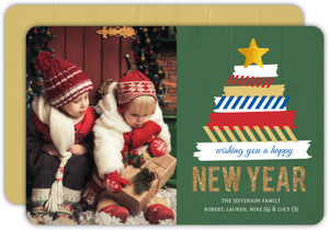 Fun Washi Tape Tree New Years Photo Card