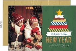 Fun Washi Tape Tree New Years Photo Card