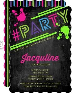 Glow In The Dark Neon Hashtag Party Invite