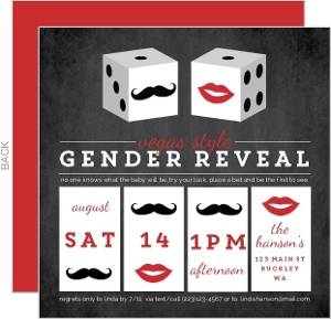Gender Reveal Casino Style Dice Invite