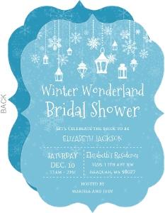 Lanterns In Winter Wonderland Bridal Shower Invitation