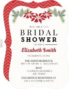 Chevron And Christmas Flowers Bridal Shower Invitation