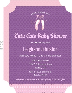 Pink Slippers Quatrefoil Pattern Baby Shower Invitation