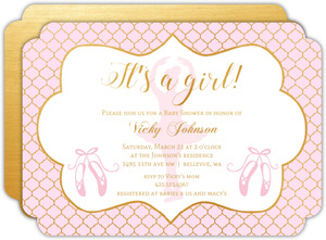 Pink And Gold Moroccan Pattern Baby Shower Invitation