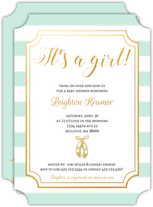 Faux Gold Glitter Slippers Baby Shower Invitation
