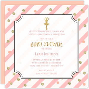 Gold And Pink Confetti Baby Shower Invitation