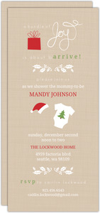 Tan Linen Holiday Baby Shower Invitation