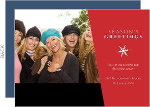 Simple Snowflake Red Season's Greeting Business Holiday Photo Card