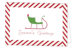 Cute Green Sleigh Ride Business Holiday Card