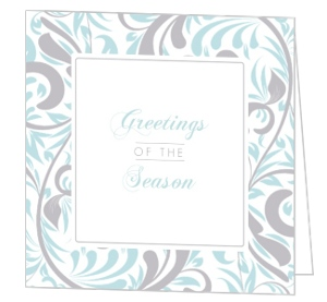 Beauitful Elegant Blue and Grey Swirls Business Holiday Card