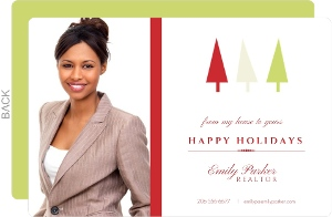 Simple Geometric Trees Business Holiday Photo Card