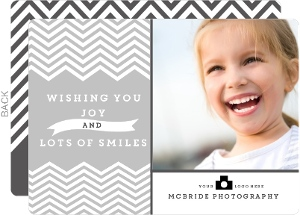 Grey Chevron Stripes Smile Business Holiday Card