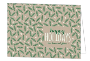 Whimsical Pine Leaves Pattern Business Holiday Card